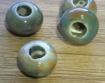 set of 10 beads porcelain 15 x 10 mm