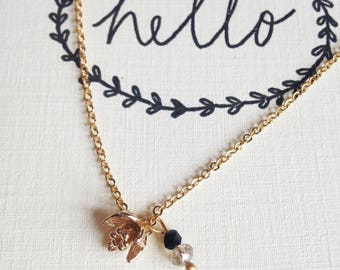 """Necklace """"Poppy"""" plated gold"""
