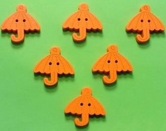 SET of 6 wood buttons: umbrella orange 23mm