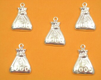 SET 5 METALS CHARMS Silver: Bag thousand 18 mm