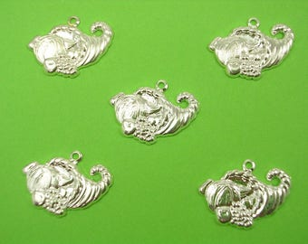 LOT 5 METALS CHARMS Silver: Recycle Bin fruit 20mm