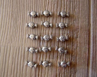 Set of 12 candy silver metal beads