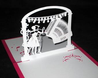 3D Kirigami prom dance accordion card