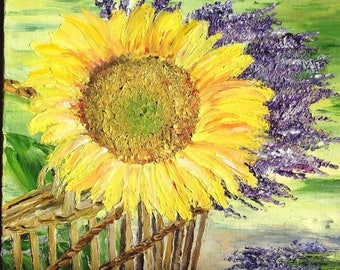 "Painting ""The colors of summer"" - still life sunflower and lavender - knife oil painting"