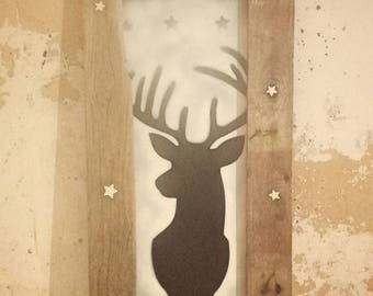 Painting, portrait of a Christmas Reindeer