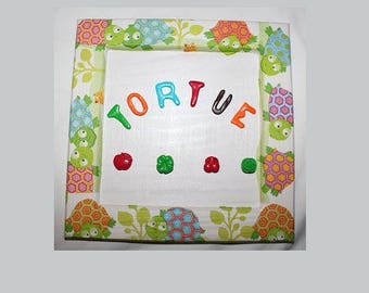 Personalized name, tortoise pattern frame