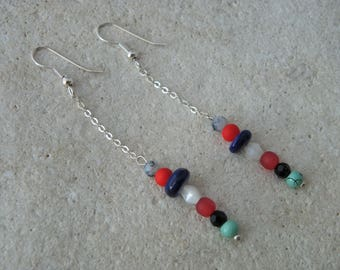 Chain and 2 pearls earrings