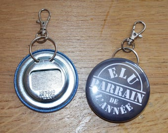 "Bottle opener / key chain personalized ""Godfather of the year"" (56 mm diameter)"