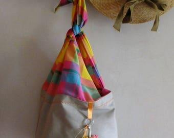 "Beach bag ""MyaOo SuN"" gray and orange."