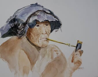 watercolor a Chinese woman