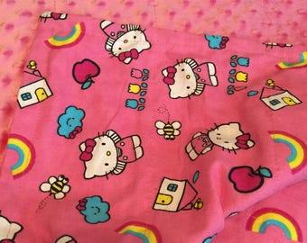 Hello kitty (medium pink Minky back)35X40 and 40X60.