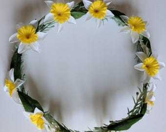 Buttercup, yellow and white, flower crown, flower wreath