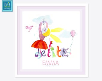 -Personalized name painting framed - gift - decor room baby child