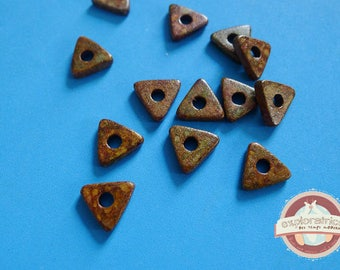 10 ethnic triangle rondelles 10mm Brown ceramic beads