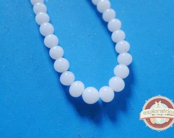 32 6mm milky white Japanese glass beads