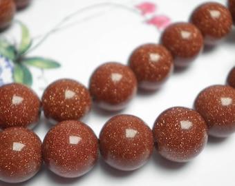 10 Golden glittery Brown Sunstone 7/8 mm beads