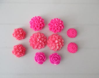 10 resin cabochons flowers to paste pink coukleurs