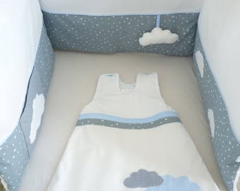 Round crib grey, blue, Star, cloud