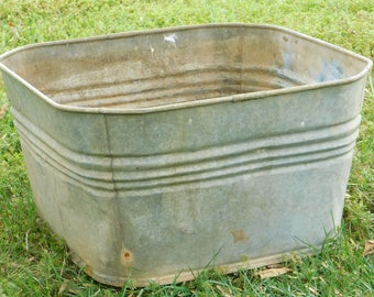 vintage galvanized wash tub square sink laundry tub large metal garden planter industrial