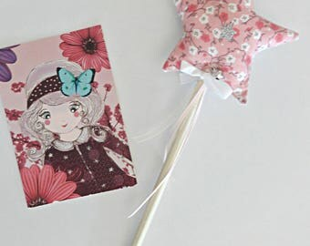 Two-tone fairy star wand / with Bell in STOCK pink cherry blossoms