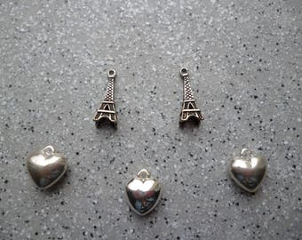 5 charms hearts and Eiffel Towers in silver