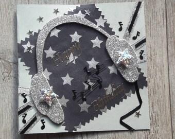 "Birthday card ""the musical helmet"" silver"