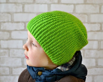 Knit boys slouchy beanie Baby green hat Toddler beanie Slouchy knit hat toddler Gift for toddler boy Kids beanie Baby beanie Hipster beanie