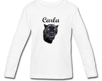 T-shirt long sleeve Black Panther girl personalized with name