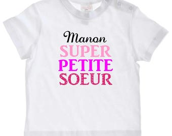 Great little sister baby personalized with name t-shirt