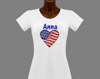 U S A white women t-shirt personalized with name