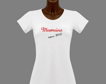 T-shirt women white message godmother since...