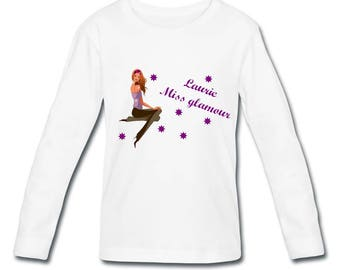 Long sleeve personalized with name Glamour Girl t-shirt