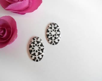 x 2 sequins white black 26 mm