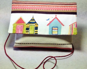 "Sleeve shoulder or Crossbody printed ""Beach cabins"""