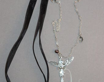Silver fairy pendant necklace