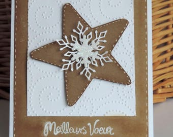 new year card, Star and snowflakes. White and kraft