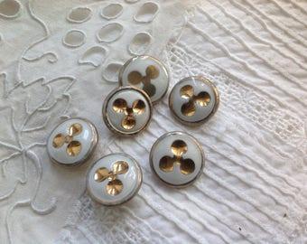 Set of six porcelain, 19mm diameter buttons, vintage.
