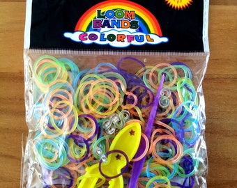 260 colorful translucent elastic - 10 - 1 hook - 1 stand loom clasps