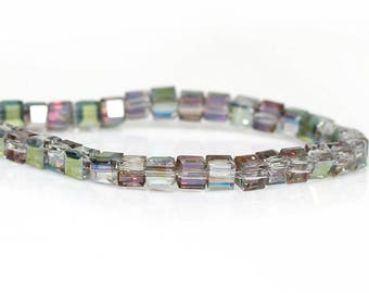 20 square purple iridescent glass - 3 mm silver beads