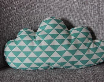 """Green and white cloud """"geometric"""" pillow"""