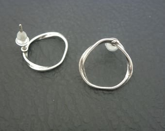 1 pair earrings circle Stud irregular 15mm silver plated (DCBO04)