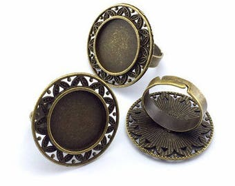 18mm: 1 ring adjustable stand bronze round 18mm cabochon