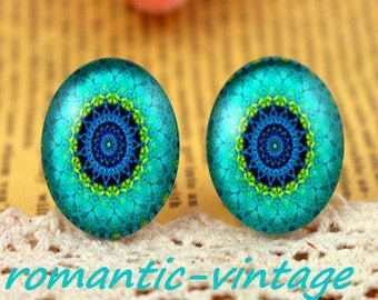 "2 cabochons ""kaleidoscope"" 20mm glass domes. geometric shapes"