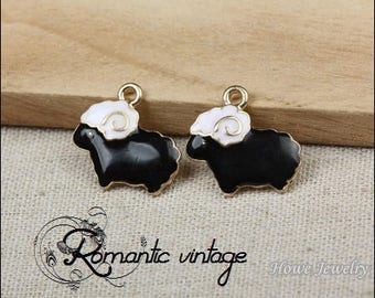 5 charms small sheep gold enamel black and white, 20mm