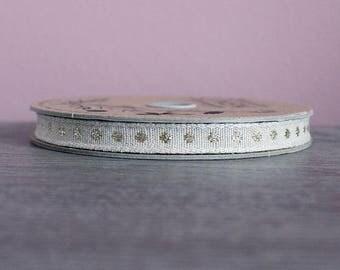 Ribbon flaxseed · White ecru. Polka dot gold · 50 cm