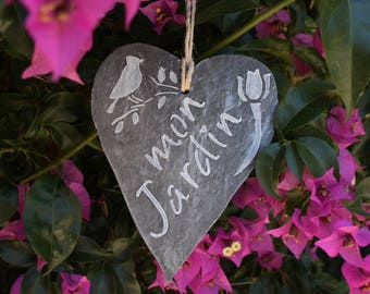 "Slate heart ""My garden"""