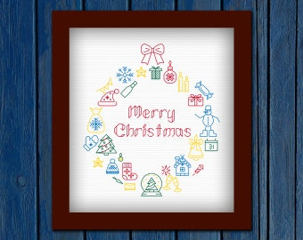 Merry Christmas - cross stitch pattern PDF |Christmas wreath| Christmas cross stitch| Christmas tree| Holliday cross stitch