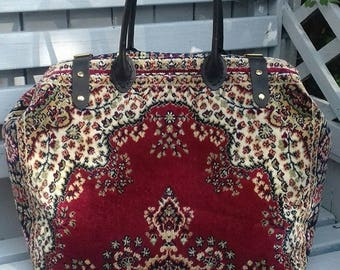 Handmade Weekender Red/Gold Paisley Design Plush Persian style Carpet Bag/Mary Poppins/Doctor Bag