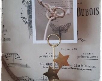 porte photo, porte carte postale ancienne...cube patiné ,imprimé et vernis collé