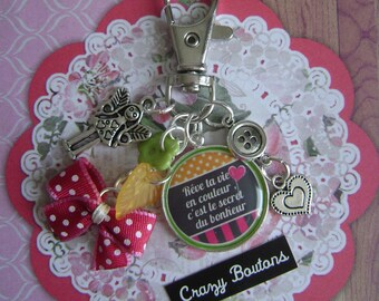 "Keychain / bag charm ""Dream your life in color..."""